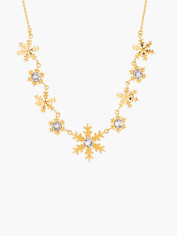 Sparkling New Year's Eve Golden Snowflakes Collar Necklace