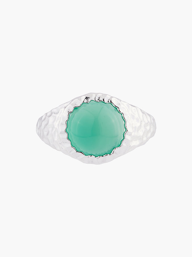 The Lucky Ones Green Agate Solitaire Ring - N/A