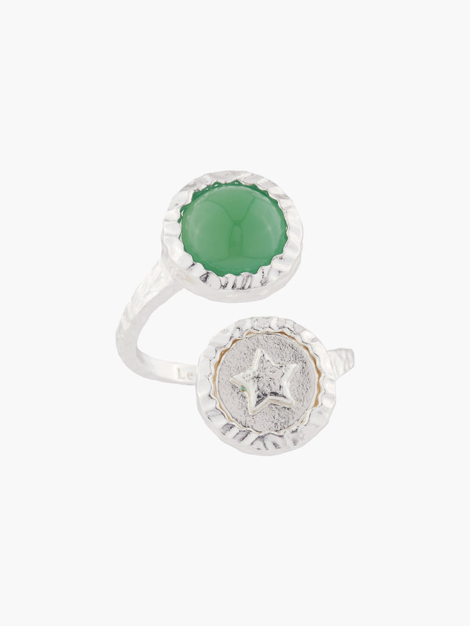 The Lucky Ones Star And Green Agate Adjustable Ring