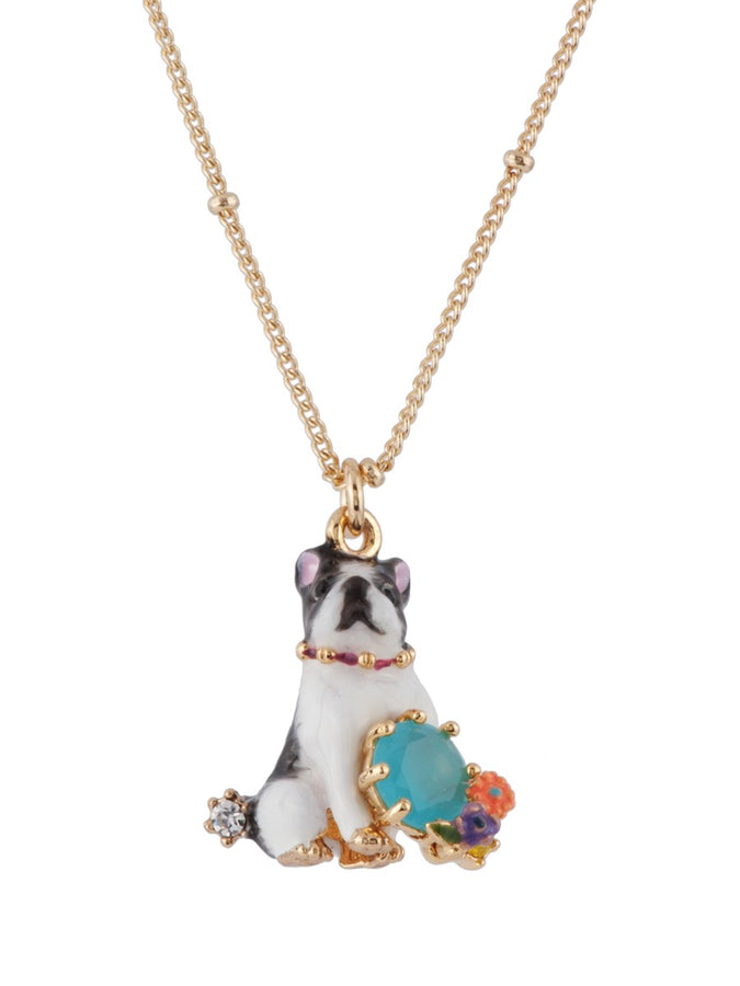 Les Nereides Loves Animals Bulldog and Blue Stone Necklace