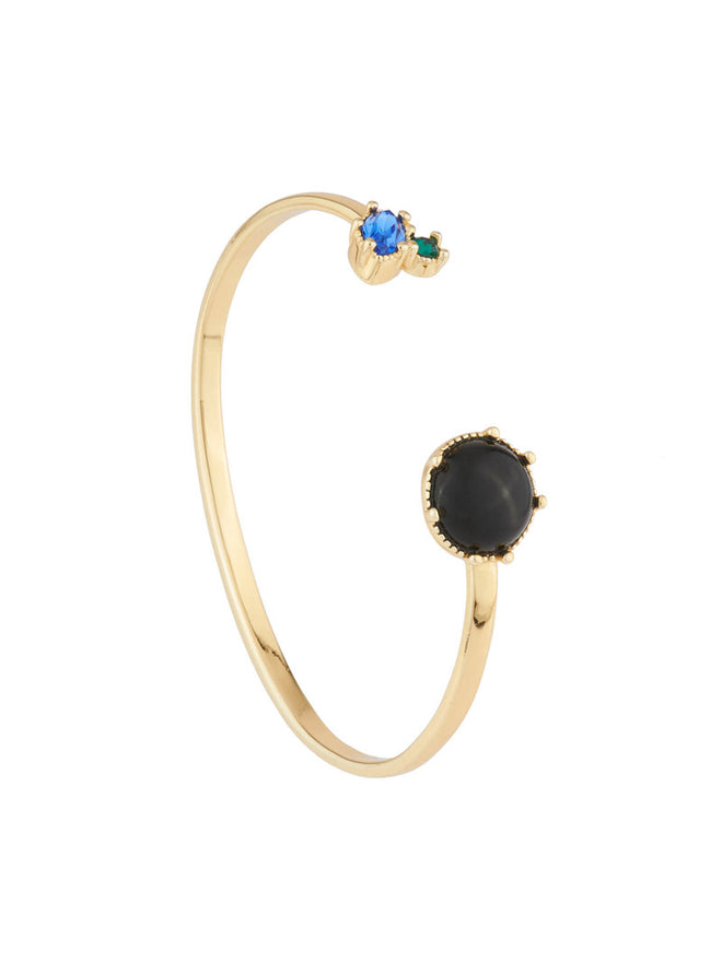 Precious Fancies Bangle bracelet with onyx stone and blue and green rhinestone - Black Alternate View