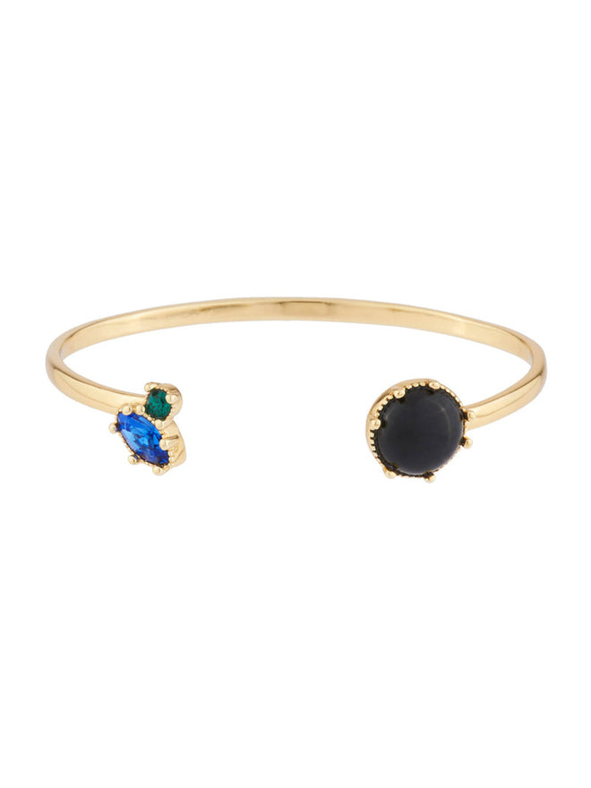 Precious Fancies Bangle bracelet with onyx stone and blue and green rhinestone - Black