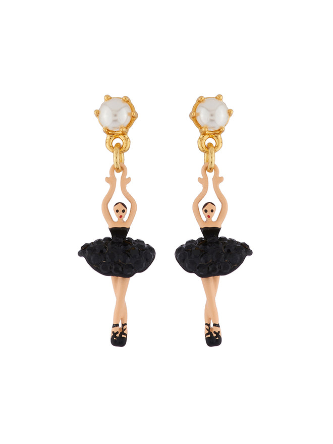 Mini Pas De Deux Mini ballerina paved with black crystals clip earrings
