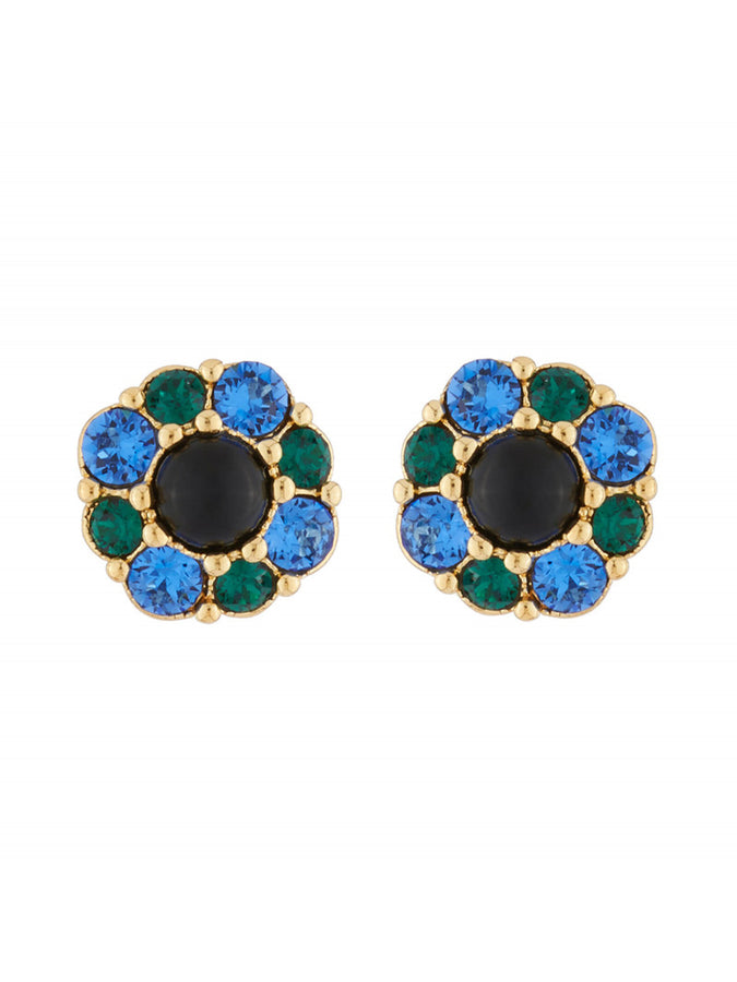 Precious Fancies Flower clip-on earrings with blue and green rhinestone