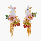 ENCHANTED ENCOUNTER Rabbit and Chain Asymmetrical Clip-on Earrings