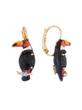 Luxuriant Canopy Toucan on carved crystal dormeuses earrings