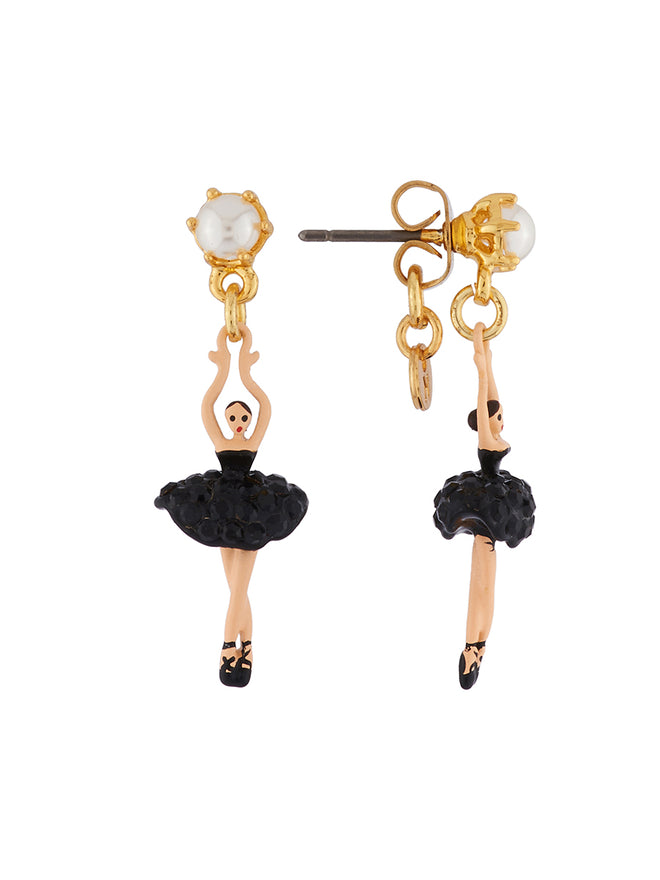 Mini Pas De Deux Mini ballerina paved with black crystals earrings Alternate View
