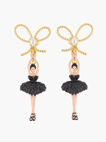 Pas de Deux Ballerina, gold ribbon and feather tutu clip-on earrings