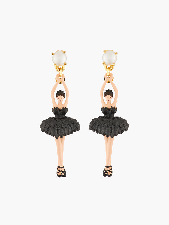 Pas de Deux Ballerina, pearl and feather tutu stud earrings
