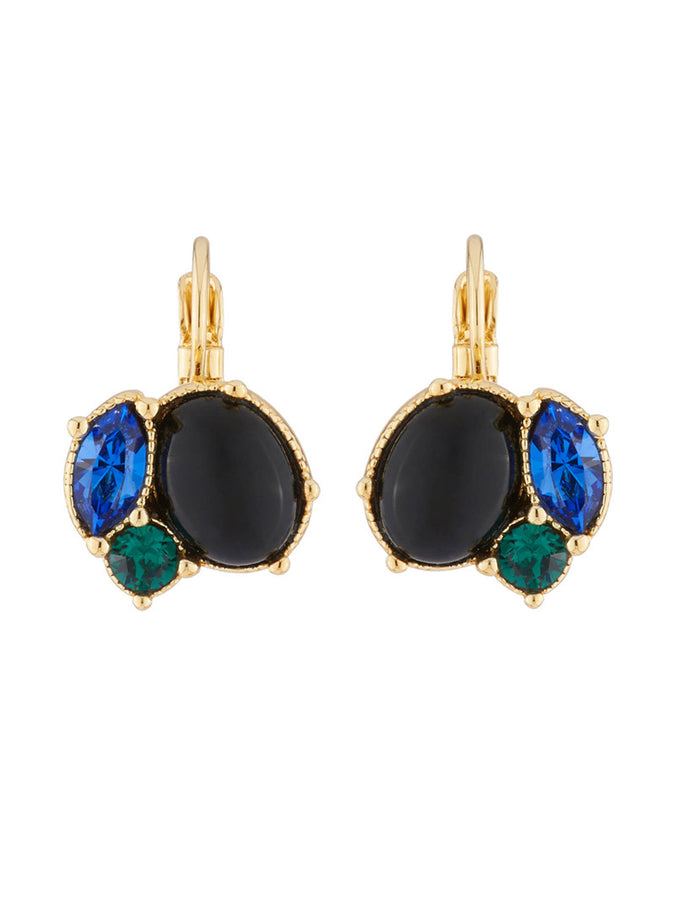 Precious Fancies Dormeuses Earrings with quartz and blue green rhinestones