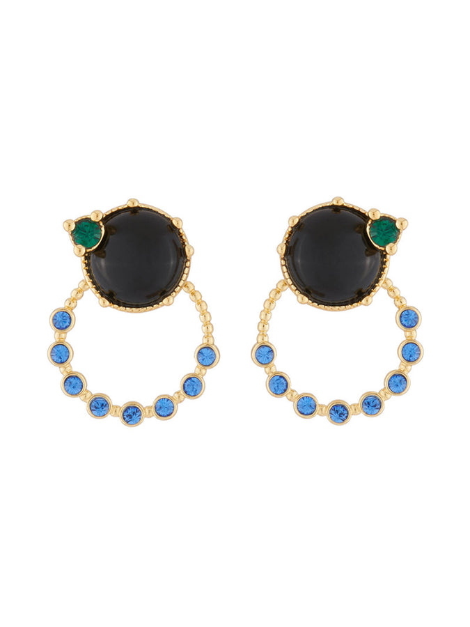 Precious Fancies Stud earrings with ring and blue stone