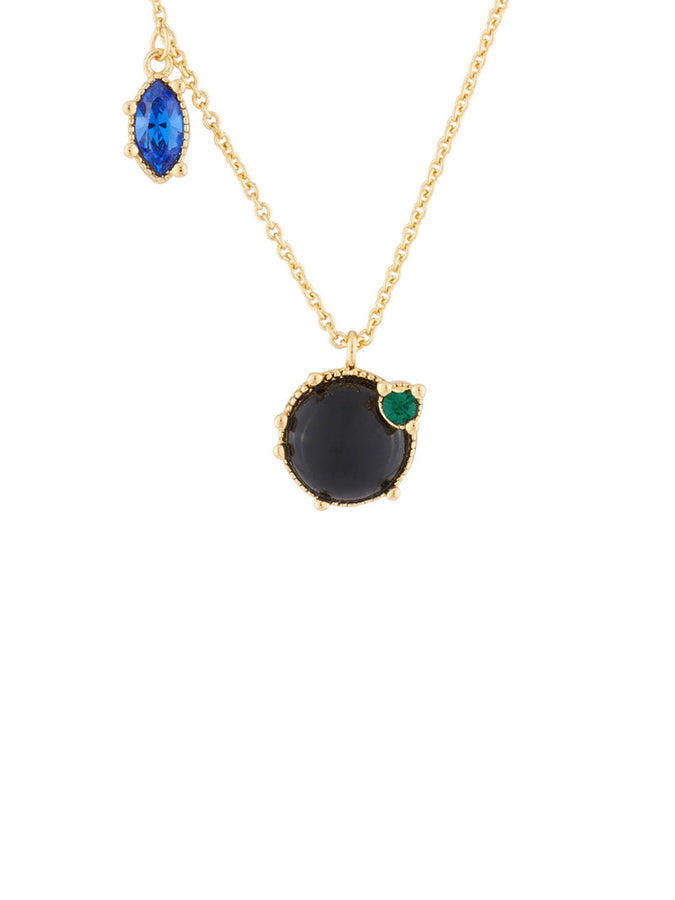 Precious Fancies Onyx and asymetrical rhinestones thin necklace