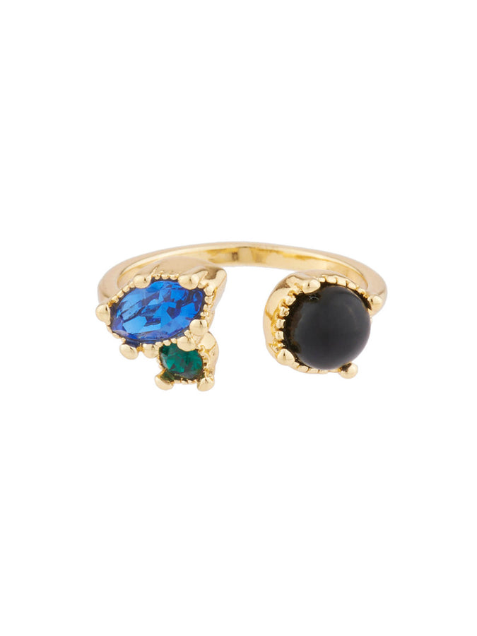 Precious Fancies You and I ring ring with onyx and blue and green rhinestone