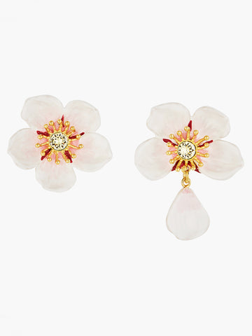 White cherry blossom post earrings