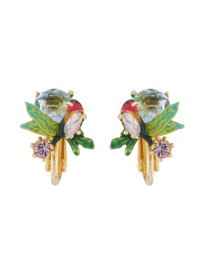 Dazzling Discretion Robin on a branch and cut crystal clip-on earrings