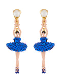 Luxury Pas De Deux Blue Rhinestone Ballerina Clip-On Earrings