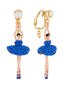 Luxury Pas De Deux Blue Rhinestone Ballerina Clip-On Earrings Alternate View