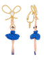 Luxury Pas De Deux Blue Rhinestone Ballerina and Pearl Clip-On Earrings Alternate View