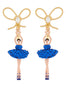 Luxury Pas De Deux Blue Rhinestone Ballerina and Pearl Clip-On Earrings