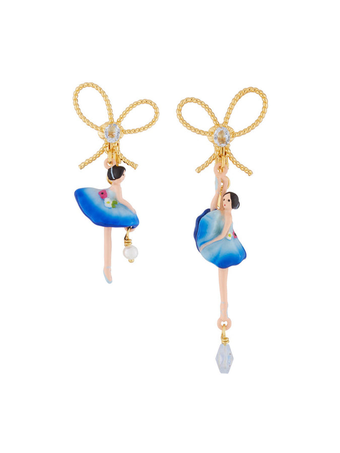 PAS DE DEUX ROYAL BLUE BALLERINA AND BOW CLIP-ON EARRINGS