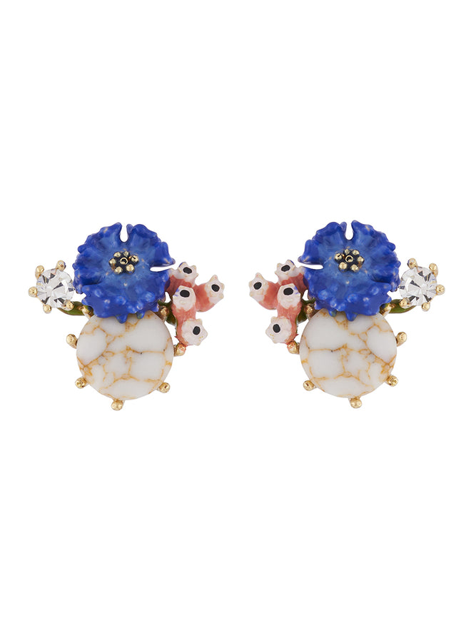 Bucolic Encounters Cornflower on stone earrings