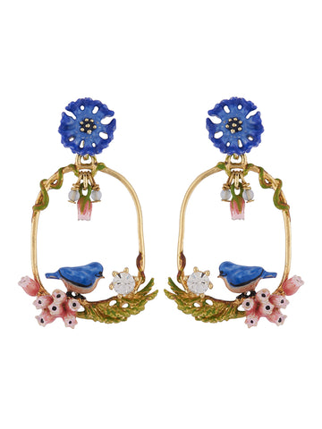 Bucolic Encounters Tit bird on flowered branch and cornflowers large hoop earrings