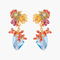 Coral Set Coral and Blue Lagoon Crystal Stud Earrings