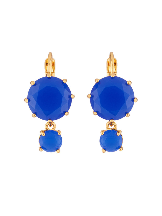 La Diamantine 2 asymmetrical Blue Stones Dormeuses Earrings