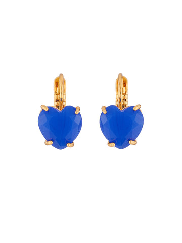 La Diamantine Blue Heart Stone Stud Earrings