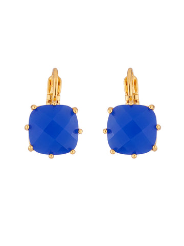 La Diamantine Blue Square Stone Dormeuses Earrings