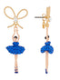 Luxury Pas De Deux Blue Rhinestone Ballerina and Pearl Stud Earrings Alternate View