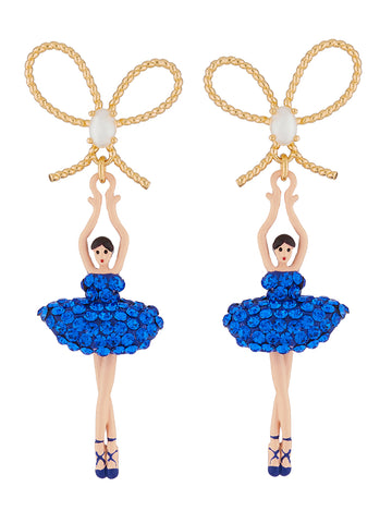 Luxury Pas De Deux Blue Rhinestone Ballerina and Pearl Stud Earrings