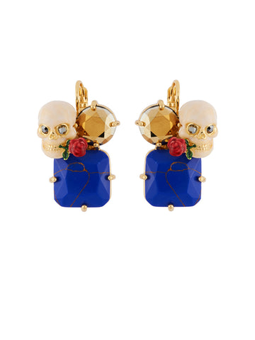 Ostentatious Obscurity Skull and Crossbones on Stone Earrings