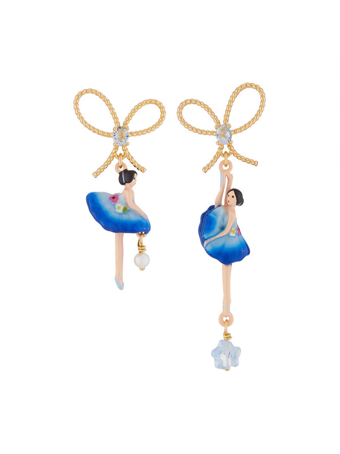 PAS DE DEUX ROYAL BLUE BALLERINA AND BOW STUD EARRINGS