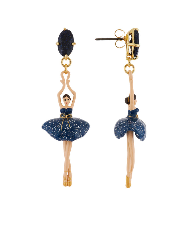Pas de Deux Glittered Midnight Blue Ballerina Earrings Alternate View