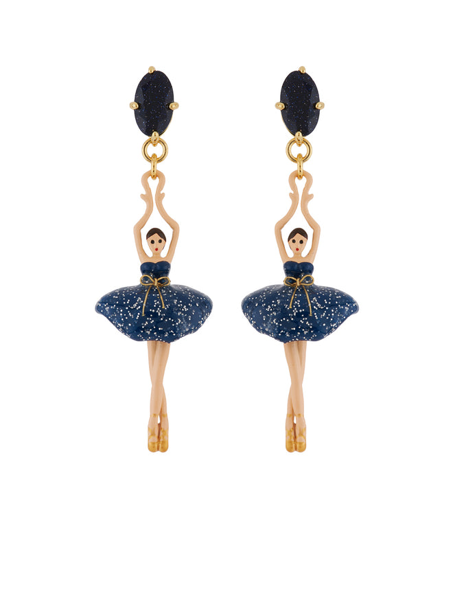 Pas de Deux Glittered Midnight Blue Ballerina Earrings