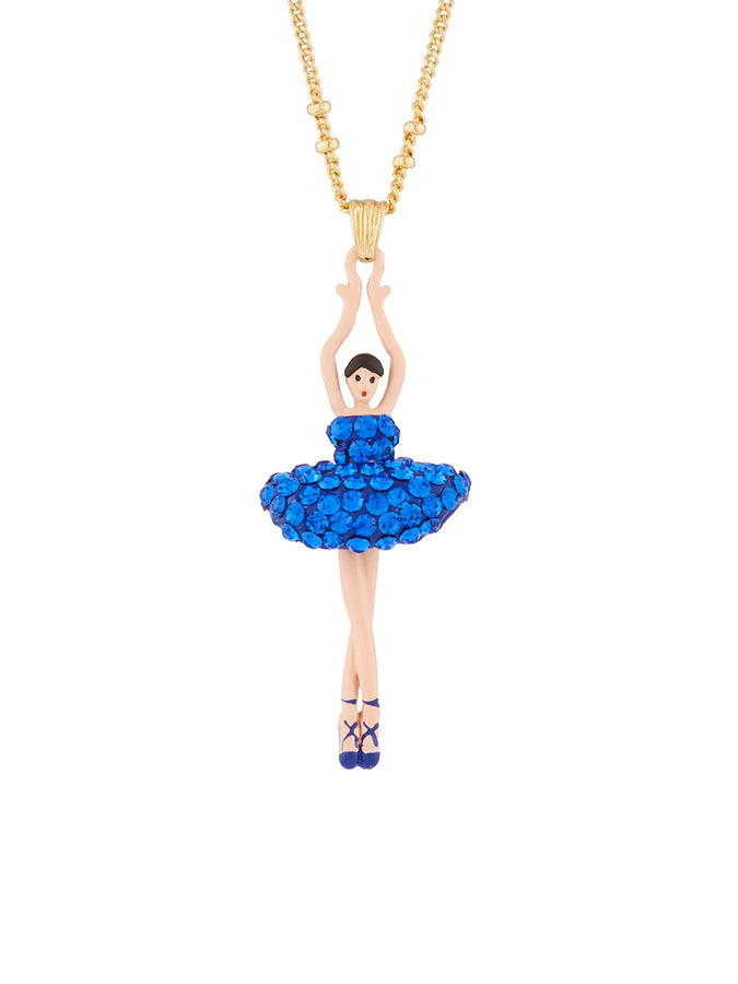 Luxury Pas De Deux Blue Rhinestone Ballerina Pendant Necklace