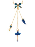 Luxury Pas de Deux Ballerina Aurora Blue Crystals and Treble Key Necklace