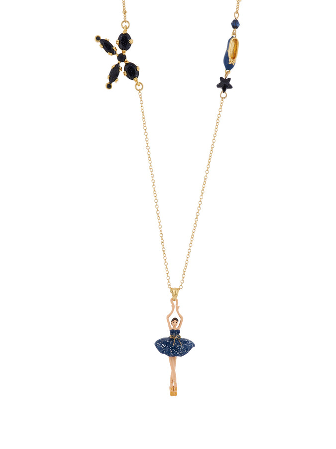 Pas de Deux Glittered Midnight Blue Ballerina Long Necklace