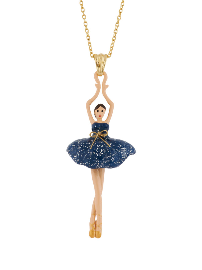 Pas de Deux Glittered Midnight Blue Ballerina Necklace
