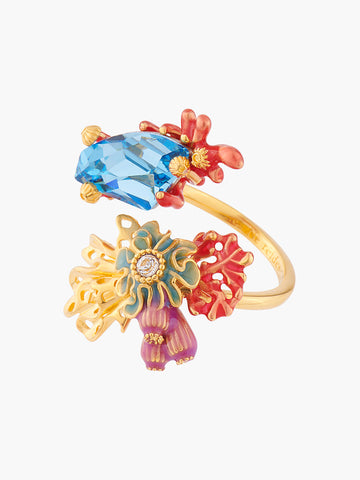 Coral Set Corals and Blue Lagoon Crystal Adjustable Ring