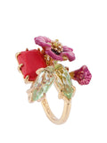 Dazzling Discretion Fuchsia Flower and Stones Adjustable Ring