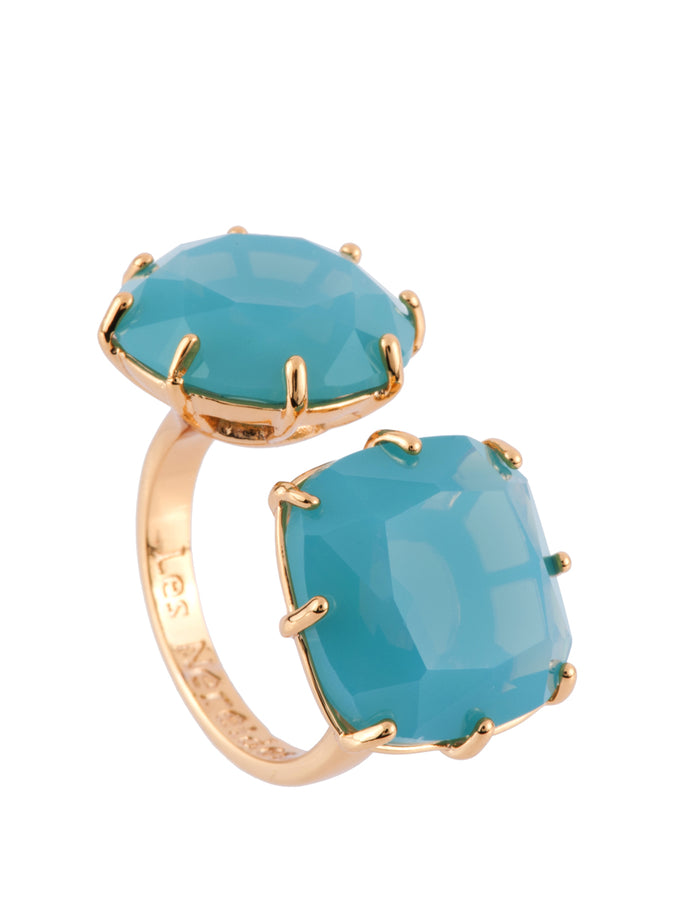 La Diamantine 2 Frosted Blue Stones Toi Et Moi Ring - Blue