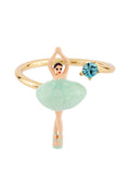 MINI PAS DE DEUX WITH BLUE MINI BALLERINA ADJUSTABLE RING