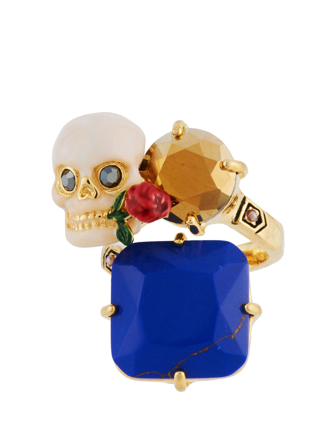 Ostentatious Obscurity Skull and Crossbones on Stones Adjustable Ring