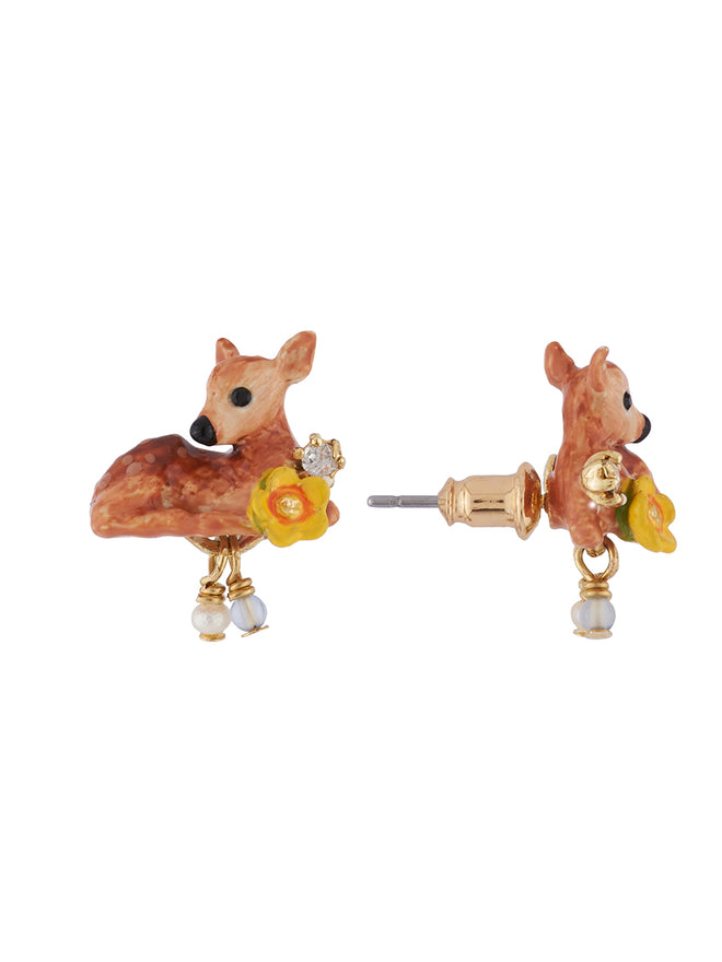Bucolic Encounters Fawn, yellow flowers and beads earrings Alternate View