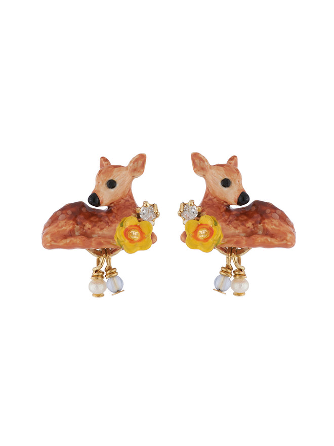 Bucolic Encounters Fawn, yellow flowers and beads earrings