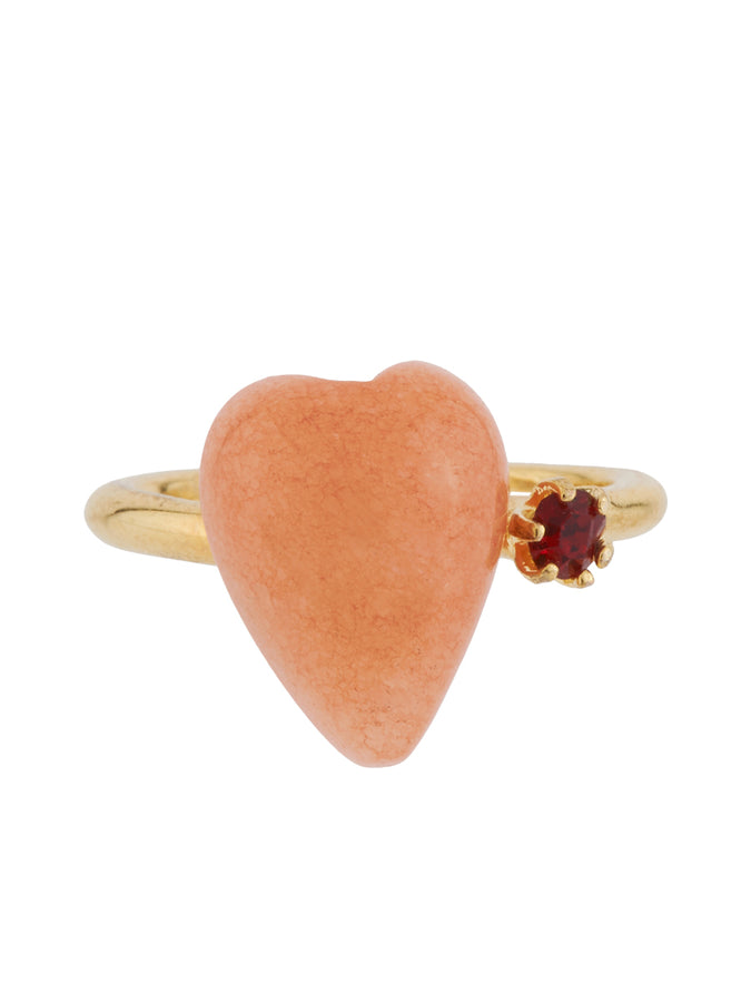 Love Me Coral Heart and Rhinestone Adjustable Ring