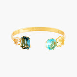 La Diamantine Acqua Azzura Stones Bangle Bracelet - Cyan Blue