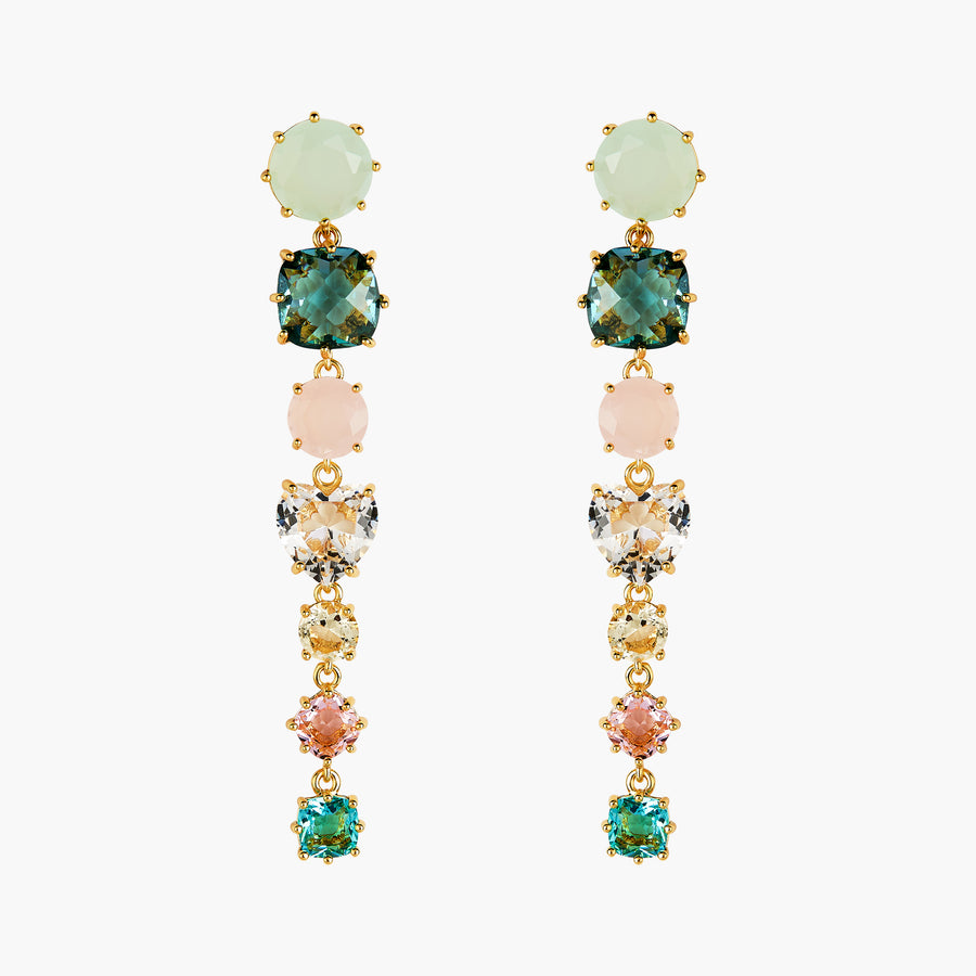 La Diamantine Acqua Azzura 7 Stones Post Earrings
